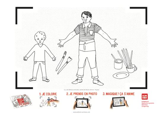 Coloriage à imprimer - Éditions Animées - Blinkbook - Picasso