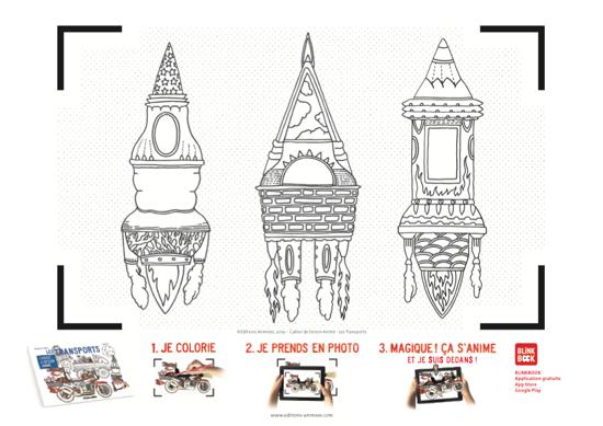 Coloriage à imprimer - Éditions Animées - Blinkbook - Les transports - Emmanuelle Houdart